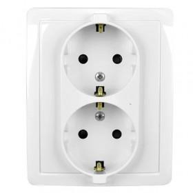 1590451-030 Розетка электрическая двойная с защитными шторками Simon 15 Белый