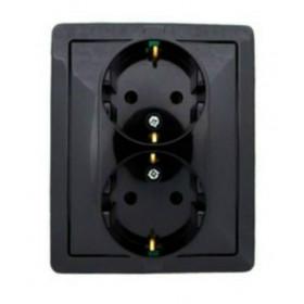 1590451-032 Розетка электрическая двойная с защитными шторками Simon 15 Черный