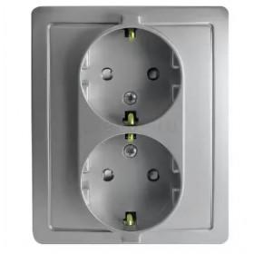 1590451-033 Розетка электрическая двойная с защитными шторками Simon 15 Алюминий