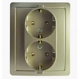 Розетка электрическая двойная с защитными шторками Simon 15 Шампань 1590451-034