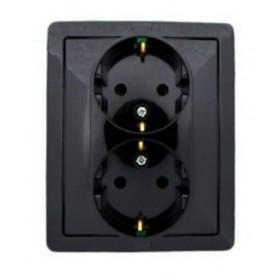 1590456-032 Розетка электрическая двойная Simon 15 Черный
