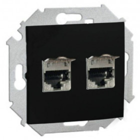 1591564-032 Розетка компьютерная двойная RJ45 кат.6A FTP Simon 15 Черный