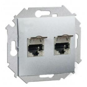 1591564-033 Розетка компьютерная двойная RJ45 кат.6A FTP Simon 15 Алюминий
