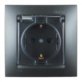 1590450-038 Розетка электрическая с защитными шторками и с крышкой IP44 Simon 15 Графит