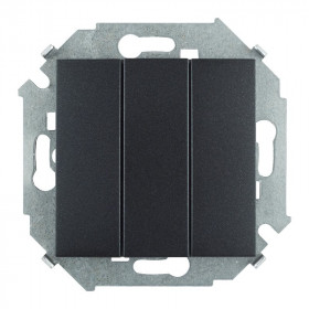 Выключатель Simon 15 трехклавишный графит 1591391-038