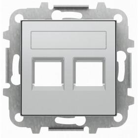 2CLA851820A1301 Накладка розетки тел/комп двойная ABB Niessen SKY Серебристый Алюминий