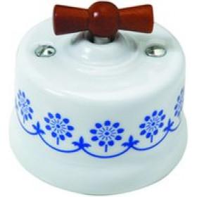 Выключатель Fontini Garby Белый с синим рисунком Ручка дерево 30308122 IP20 с 2-х мест