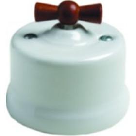 Выключатель Fontini Garby Белый Ручка дерево мед 30308182 IP20 с 2-х мест