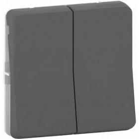 MUR37021 Механизм выключателя двухклавишного с 2-х мест Mureva Styl IP55 Антрацит