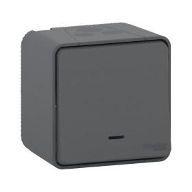 MUR35021 Выключатель одноклавишный с 2-х мест с подсветкой Mureva Styl IP55 Антрацит