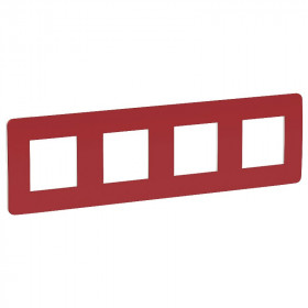 NU280813 Рамка 4-пост Schneider Electric Unica Studio Color Красный-Белый