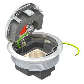 7405596  Лючок с розеткой 2к+з(GESRС2 USB) для бетонного пола, Хром
