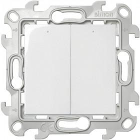 2450392-030 Двухклавишный выключатель с подвсеткой Simon 24 Harmonie Белый