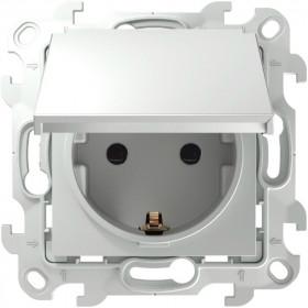2450448-030 Розетка влагозащищенная электрическая с крышкой и шторками IP44 скрытой установки Simon 24 Harmonie Белый