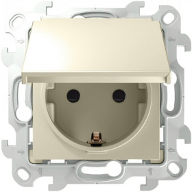 2450448-031 Розетка влагозащищенная электрическая с крышкой и шторками IP44 скрытой установки Simon 24 Harmonie Слоновая кость