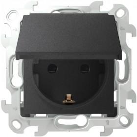 2450448-038 Розетка влагозащищенная электрическая с крышкой и шторками IP44 скрытой установки Simon 24 Harmonie Графит