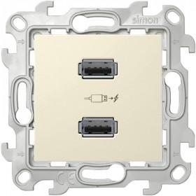 2411096-031 Розетка(зарядка) USB двойная Simon 24 Harmonie Слоновая кость