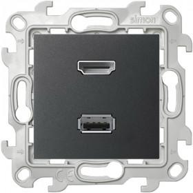 Розетка HDMI+USB Simon 24 Harmonie Графит 2411095-038