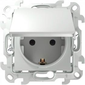 2420448-030 Розетка влагозащищенная электрическая с крышкой и шторками IP44 скрытой установки Push&Go Simon 24 Harmonie Белый
