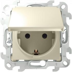 2420448-031 Розетка влагозащищенная электрическая с крышкой и шторками IP44 скрытой установки Push&Go Simon 24 Harmonie Слоновая кость