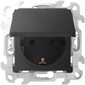 2420448-038 Розетка влагозащищенная электрическая с крышкой и шторками IP44 скрытой установки Push&Go Simon 24 Harmonie Графит