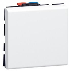 77041 Mosaic Кнопка переключателя 2 модуля(45*45мм) 6А, БЕЛЫЙ