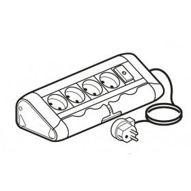 653525 Legrand Блок розеточный с 4 розетками и 1 выключателем с подсветкой со шнуром Алюминий
