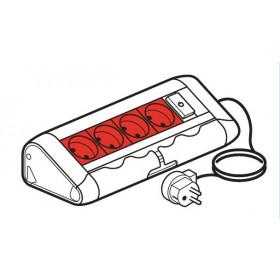 653527 Legrand Блок розеточный с 4 красными розетками и 1 выкл. с подсветкой со шнуром Алюминий