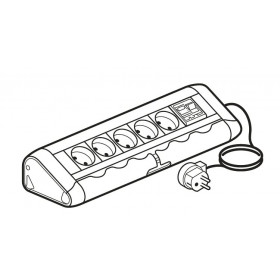 653529 Блок розеточный с 5 розетками и 1 авт.выключ. дифф. тока 16А 30mA с со шнуром Алюминий