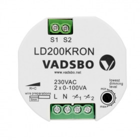 LD200KRON Диммер универсальный двухканальный 2x1-100 Вт для кнопки VADSBO V-402002IBK