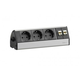 930.04.783 EVOline Dock DESK DATA 3 роз.+2 RJ45, кабель 3м с вилкой, вывод провода сбоку, Алюминий