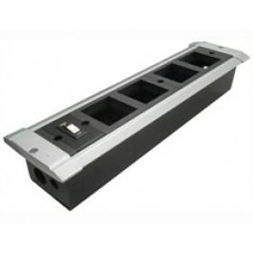 70324 Встраиваемый розеточный блок на 5 механизмов 45*45мм с выключателем, Алюминий