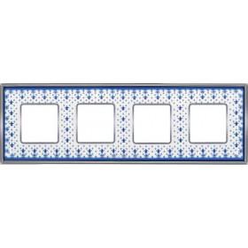Рамка 4-ая Fede Vintage Porcelain Blue Lys/Светлый хром FD01344AZCB IP20