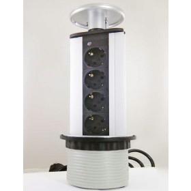 LK-GN1204/SLV Выдвижной розеточный блок на 4 розетки 2к+з, Серебристый, кабель 1,8 м, диам.80мм