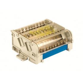 BD160134 Блок распределительный на DIN рейку 4р 160А, 8х7мм  2х9мм 1х12мм