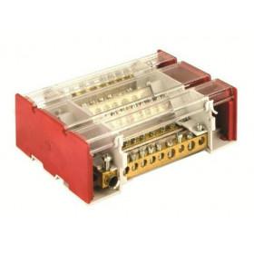 BD3160104 Блок распределительный на DIN рейку c выносной клеммой 4р 160А, 7х7мм 1х8мм  1х9мм 1х12мм