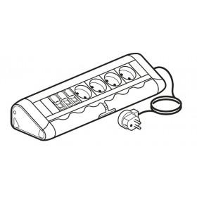 653533 Legrand Блок розеточный с 4 розетками 2К+З и 3 розетки RJ45 Cat6 со шнуром Алюминий