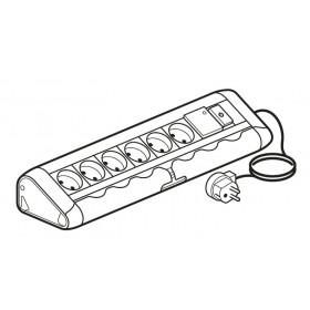 653541 Блок розеточный с 6 розетками и 1 выключателем с подсветкой и с фильтром со шнуром Алюминий