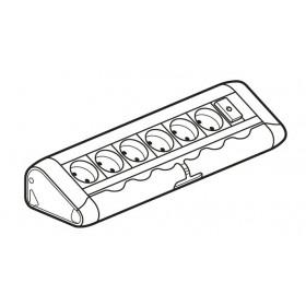 653550  Legrand Блок розеточный с 6 розетками и 1 выключателем с подсветкой без шнура Алюминий
