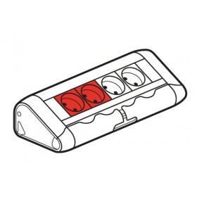 653551 Legrand Блок розеточный с 2 белыми и 2 красными розетками без шнура Алюминий