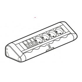 653552 Legrand Блок розеточный с 4 розетками 2К+З и 3 розетки RJ45Cat6 без шнура Алюминий