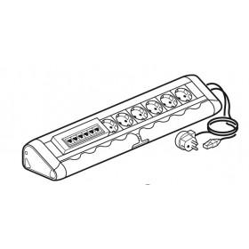 653570 Блок розеточный с 6 розетками и  коммутатор со шнуром Алюминий