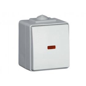 Выключатель IP65 Efapel 48 одноклавишный с подсветкой Серый 48012 CCZ