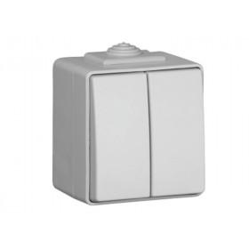 48061 CCZ Выключатель IP65 Efapel 48 двухклавишный влагозащищенный Серый