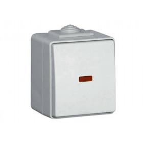 Выключатель IP65 Efapel 48 Одноклавишный с 2-х мест с сигнальной лампой Серый 48073 CCZ