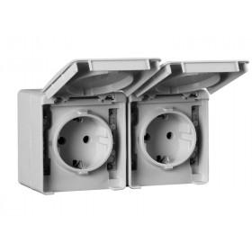 48865 CCZ Уличная розетка влагозащищенная с крышкой IP65 двойная с защитными шторками горизонтальная Efapel 48 IP65, Серый
