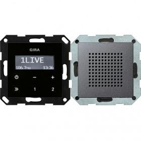 228028 Встраиваемое радио с динамиком Gira Standard 55 Антрацит