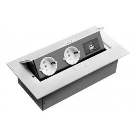 AE-PBU02GS-10 Выдвижной розеточный блок GTV на 2 розетки 2к+з и 2 USB прямоугольный, Белый