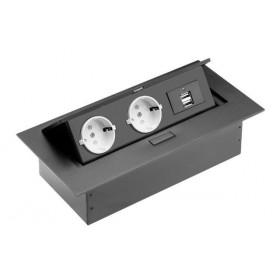 AE-PBU02GS-20 Выдвижной розеточный блок GTV на 2 розетки 2к+з и 2 USB прямоугольный, Чёрный