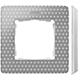 8200610-211 Рамка на 1-ая Simon 82 Detail Original Серый в горошек-Основание Белое